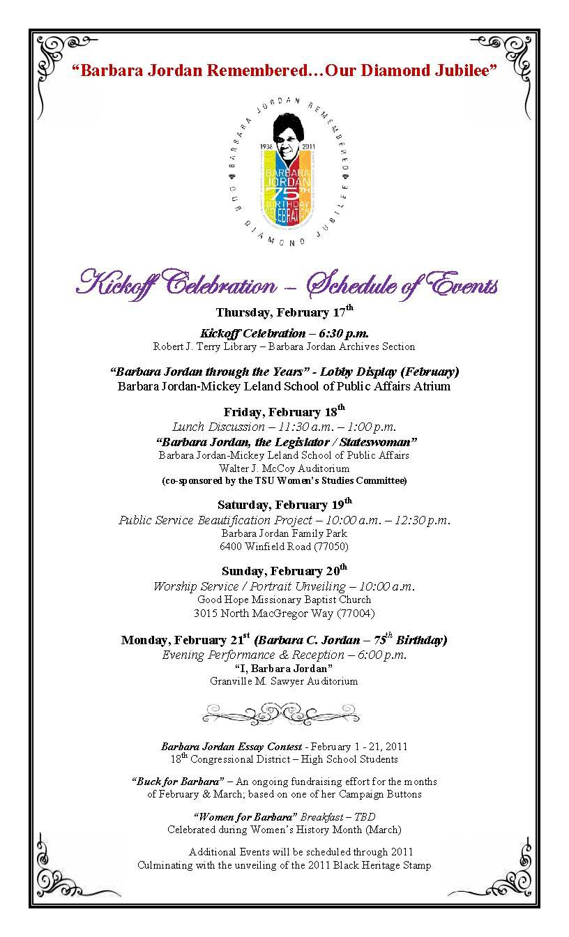 TSU events for Barbara Jordan's 75th birthday, February 17 ...
